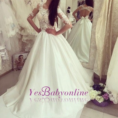 Sweep Train Half-sleeves Bow Sweep Train Glamorous A-line Wedding Dress_1