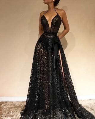 Sexy Sheer Evening Gowns | Halter Slit Prom Dresses with Sash_3