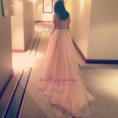 Tulle Beautiful Lace Long-Sleeve V-Neck Long Evening Dress_3