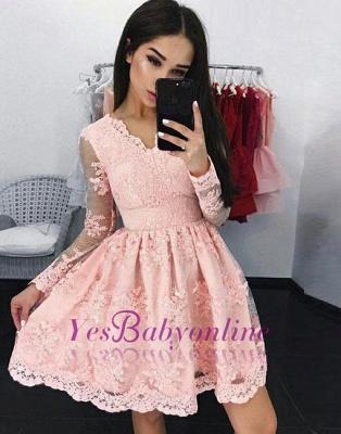 Pink Long Sleeves Homecoming Dresses Lace Elegant Short Cocktail Dresses_1