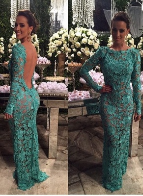 Mermaid Long Sheer-Lace Open-Back Long-Sleeves Evening Gown_2