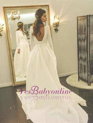 Long Sleeves Jewel A-line Modern Sweep Train Wedding Dress_1