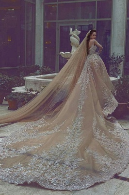 Luxury Ball Gown Wedding Dresses | Long Sleeves Beading Bridal Gowns_3