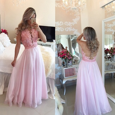 Crystal A-Line Sexy Appliques Sheer-Tulle Pink Prom Dresses_3