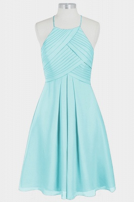 A Line Chiffon Halter Knee Length Bridesmaid Dresses with Ruffles_3