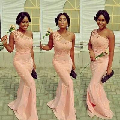 Simple Popular Lace Mermaid One-Shoulder Bridesmaid Dresses_3