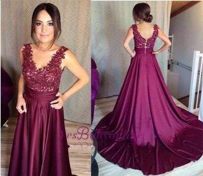 Sleeveless Lace Zipper Appliques Gorgeous Prom Dress_1