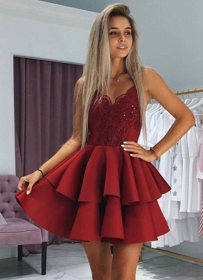 A-Line Layers Homecoming Dresses | Spaghetti Straps Lace Cocktail Dresses with Appliques_1