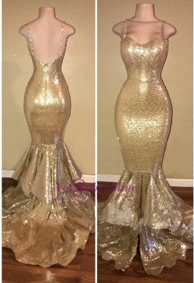 Shiny Gold Spaghettis-Straps Layers-Train Mermaid Sequins Prom Dresses_1