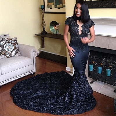 Long Mermaid Lace Prom Dresses | Black Flowers Short Sleeves Evening Dresses_3