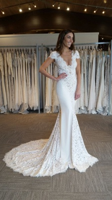 Court-Train Glamorous Mermaid Cap-Sleeves V-Neck Lace-Applique Wedding Dresses_4
