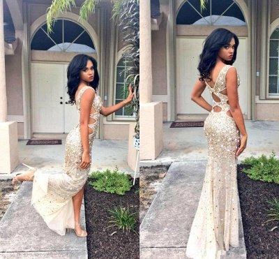 V-neck Sleeveless Floor-length Front-Split Crystals Gorgeous Prom Dress_4