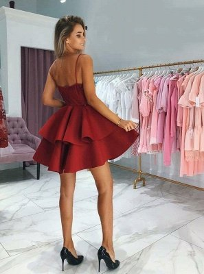 A-Line Layers Homecoming Dresses | Spaghetti Straps Lace Cocktail Dresses with Appliques_3