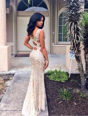 V-neck Sleeveless Floor-length Front-Split Crystals Gorgeous Prom Dress_3
