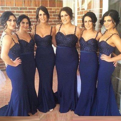 Gorgeous Navy Spaghetti Strap Bridesmaid Dress Lace Beadings Long Wedding Party Dress_3
