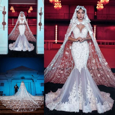 Attractive Sweetheart Applique Beading Lace Mermaid Wedding Dresses With Cape_3