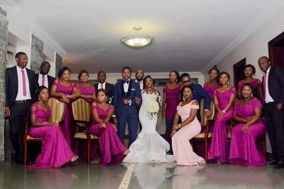 Elegant Cold Shoulder Bridesmaid Dresses   Sleeveless Mermaid Wedding Party Dresses_4