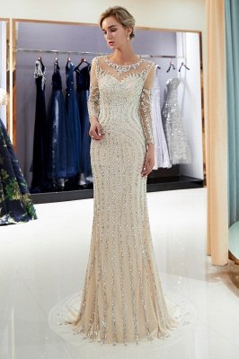 Mermaid Sequined Pattern Long Sleeves Prom Dress | Evening Dresses 2019_5