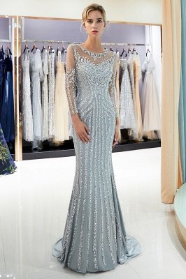 Mermaid Sequined Pattern Long Sleeves Prom Dress | Evening Dresses 2019_3