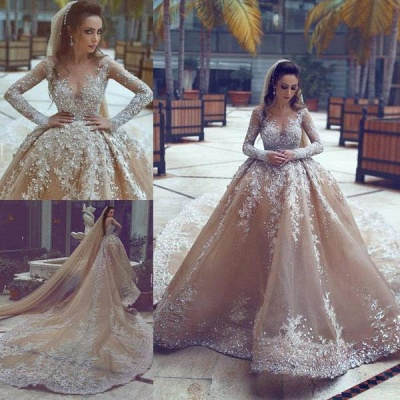 Luxury Ball Gown Wedding Dresses | Long Sleeves Beading Bridal Gowns_4