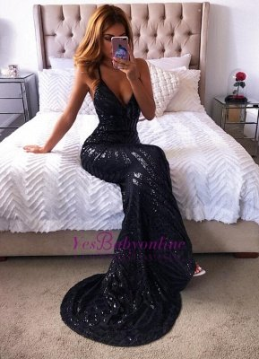 Spaghetti-Straps Mermaid Black Long New Prom Dresses_1
