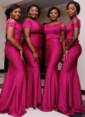 Elegant Cold Shoulder Bridesmaid Dresses   Sleeveless Mermaid Wedding Party Dresses_1
