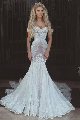 Off-the-Shoulder Sexy Mermaid Lace Wedding Dresses | Open Back Bridal Gowns  BA7275_1