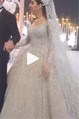 Round Neck Ball Gown Crystal Wedding Dresses with Long Sleeves_1