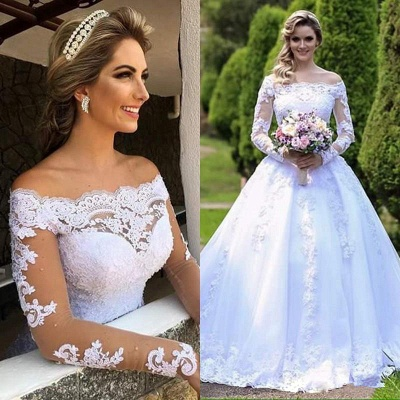 Gorgeous Princess Long Sleeves Zipper Lace Wedding Dress with Button_5