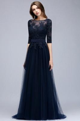 Elegant A-Line Scoop Half Sleeves Evening Dresses Lace Appliques  Cheap Prom Dresses_3