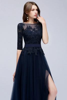 Elegant A-Line Scoop Half Sleeves Evening Dresses Lace Appliques  Cheap Prom Dresses_4