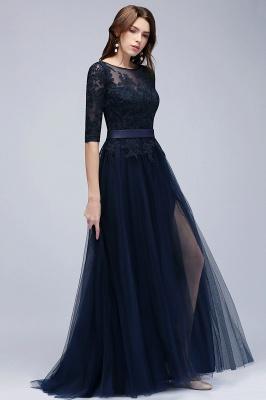 Elegant A-Line Scoop Half Sleeves Evening Dresses Lace Appliques  Cheap Prom Dresses_5