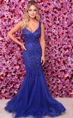2019 Elegant Royal Blue Straps Evening Dresses | Cheap Crystal Open Back Sleeveless Prom Dresses Online_1