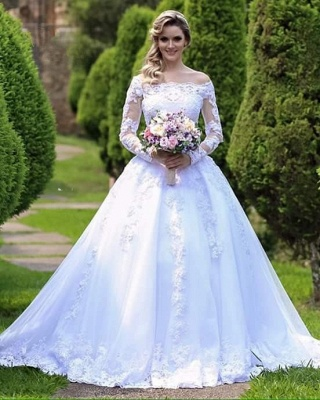 Gorgeous Princess Long Sleeves Zipper Lace Wedding Dress with Button_2