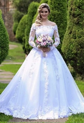 Gorgeous Princess Long Sleeves Zipper Lace Wedding Dress with Button_6