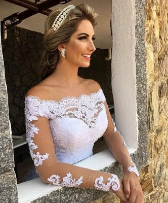 Gorgeous Princess Long Sleeves Zipper Lace Wedding Dress with Button_3