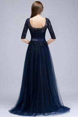Elegant A-Line Scoop Half Sleeves Evening Dresses Lace Appliques  Cheap Prom Dresses_6