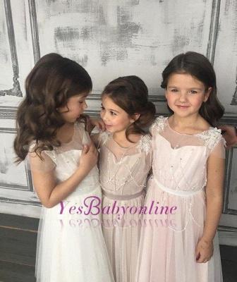 Appliques A-Line Glamorous Beadings Open-Back  Flower-Girl Dresses_1