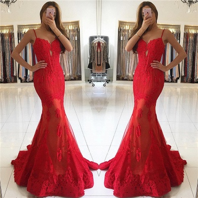 Gorgeous Spaghetti-Strap Mermaid Lace Red Evening Dress_4
