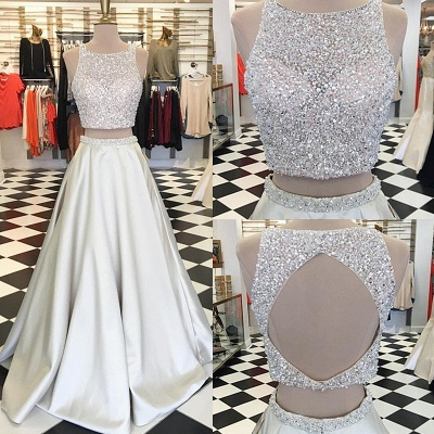 A-line Sleeveless Two-Piece Gorgeous Jewel Crystals Prom Dress_3