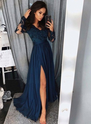 Sexy Long Sleeves V-Neck Evening Dresses | Side Slit A-Line Long Prom Dresses_1