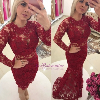 Lace Luxury Jewel Mermaid Long-Sleeves Pearls Prom Dresses_1