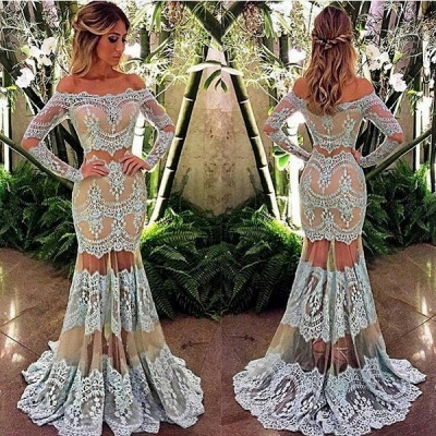 2019 Sheer Mermaid Prom Dresses Off-the-Shoulder Long Sleeves Lace Elegant Evening Gowns_2