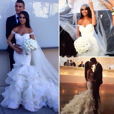 Glamorous Off-the-Shoulder Ruffles Train Mermaid Wedding Dresses_3