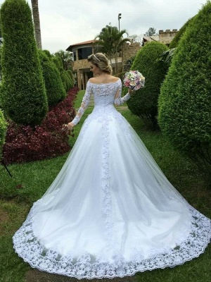 Gorgeous Princess Long Sleeves Zipper Lace Wedding Dress with Button_4