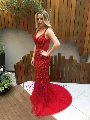 Mermaid Backless Long Red Crystals V-Neck Prom Dresses_1