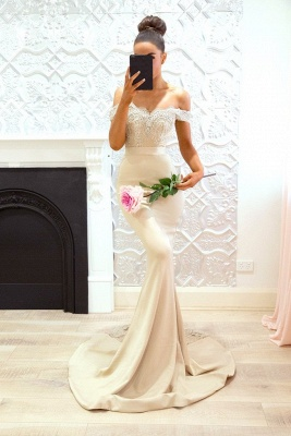 Elegant Off-the-Shoulder Prom Dresses   Sleeveless Mermaid Bridesmaid Dresses_3