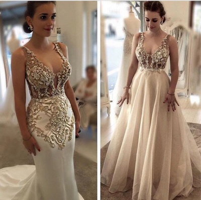 Luxury Mermaid Evening Dress With Detachable Overskirt | Straps Lace Appliques See Through Formal Dresses_3