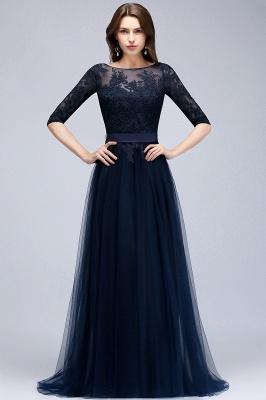 Elegant A-Line Scoop Half Sleeves Evening Dresses Lace Appliques  Cheap Prom Dresses_1