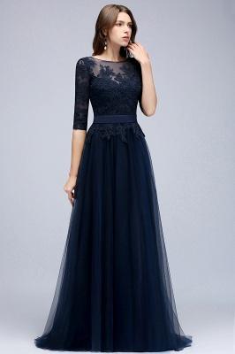 Elegant A-Line Scoop Half Sleeves Evening Dresses Lace Appliques  Cheap Prom Dresses_2